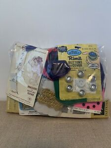 Vintage Lot of Sewing Supplies Buttons Clasps a Zipper and etc. INCOMPLETE $7.99
