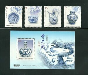 TAIWAN 2018 BLUE amp; WHITE PORCELAIN ANTIQUE IN POSTAGE STAMPS S S MNH