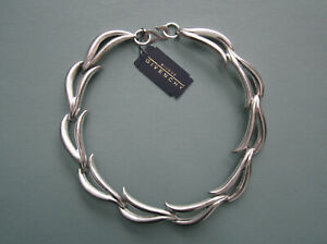 BIJOUX GIVENCHY SILVER TONE 17 CHOKER NECKLACE MODERNIST 1980s VINTAGE NWT $100.00