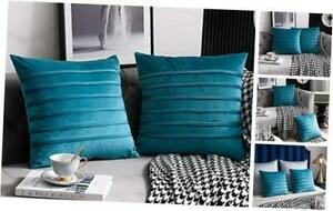 Throw Pillow Cases 18x18: 2 Pack Inch Cozy Soft Striped 18 x 18 Inch Turquoise