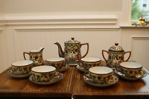 ANTIQUE JAPAN SATSUMA IMMORTALS HAND PAINTED TEA SET Takito TT
