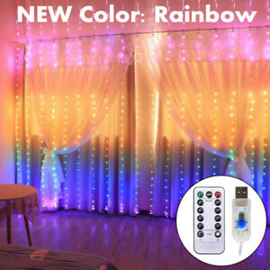 300LED 10ft Curtain Fairy Hanging String Lights Wedding Party Wall Decor Lamp US $10.99