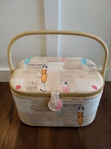 Vintage Sewing Box Fabric Fashion Rattan Handle Cottage Core Philippines Mid Cen $45.00