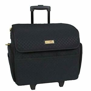 Black Stamped Rolling Sewing Machine Tote For Standard Singer Sewing Machines $117.93