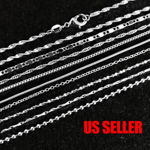 925 Sterling Silver Plated 9 Styles Snake Chain Necklace 1mm 16quot; 18quot; 20quot; 22quot; 24quot;