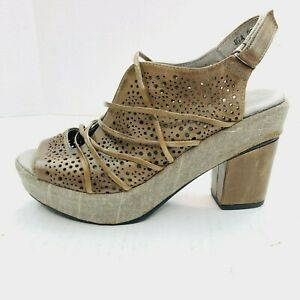 Antelope Womens Leather Braided Laced Open Toe Wedge Brown Sandals Shoes 37 $44.10