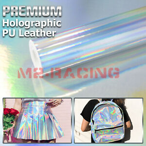 Holographic Silver Fabric Cloth Vinyl Weave PU Faux Leather Iridescent Craft DIY