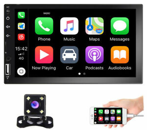 7quot; Car Radio Apple Andriod Carplay BT Car Stereo Touch Screen Double 2DinCamera $87.99