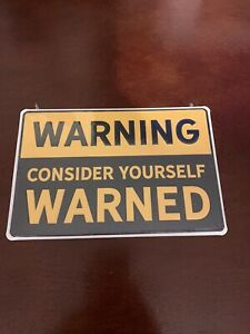 Warning Metal Sign Embossed Accent Style Yellow Sign Wall Decor Free Shipping