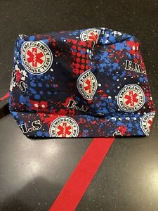 Blue And Red scrubs hat With Ponytail