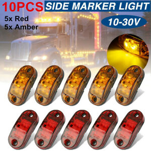 5x Amber 5x Red LED Car Truck Trailer RV Oval 2.5quot; Side Clearance Marker Lights