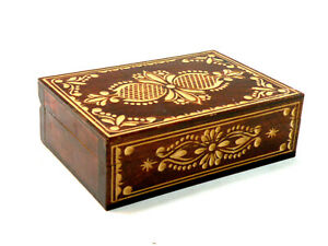 Vintage Wooden Jewelry Trinket Handmade Box Hand Carved Made In Poland $19.99