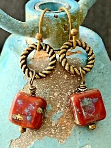 Bronze and Speckled Red and Gray Picasso Czech Bead Earrings. Boho Chic $5.99