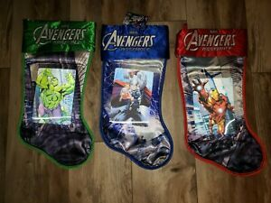 Avengers Lithograph Christmas Stocking 18quot; Set of 3 Embroidered Satin New $15.99