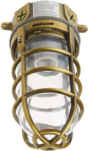 Vapor Tight Light Fixture Explosion Proof Style Ceiling Mount Cage Brass 150W