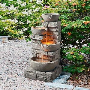 Outdoor Water Fountain with LED Lights Patio Garden Faux Stone Waterfall 4 Tier $193.99