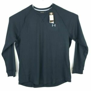 Under Armour Mens Waffle Knit T Shirt Black Long Sleeve Crew Stretch 3XL New $25.99