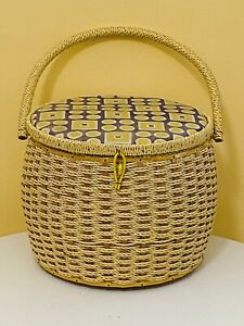 Vintage Wicker Yellow Gray Satin Lined Made For Singer Sewing Basket w Handle $34.99