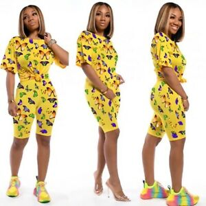 Women Sets Butterfly Print Summer Tracksuits