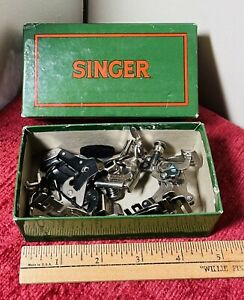 """Lot of 7 Vintage """"SINGER"""" Sewing Machine Attachments in Original Box #160809 $55.50"""