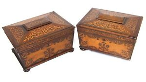 Near PAIR Antique REGENCY Rosewood and Marquetry Sewing Boxes Fitted Interiors GBP 845.00