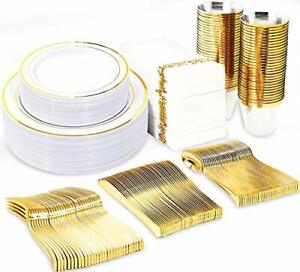 Gold Plastic Plates With Disposable Forks Knives Spoons Cups And Napkins
