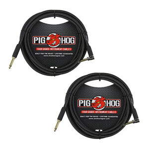 Pig Hog PC H10BKR 1 4quot; Right Angle Black Woven Instrument Cable 10 Feet 2 Pack $28.99