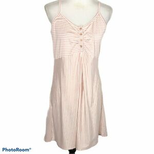 Angel Maternity Womens Striped Nursing Dress Small Pink and White $25.00