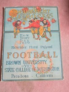 Vintage Tournament of Roses Football Poster New Years Day 1916 Brown vs Washingt