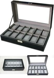 Watch Dislpay Box Organizer Case Holder Pu Leather with Glass Top Large Black $24.48