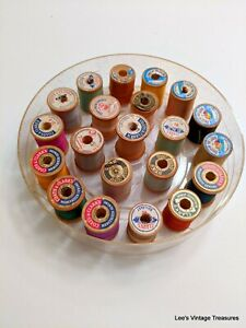 Vintage Antique Thread wooden spools 21 total Plastic tray Various brands $18.00