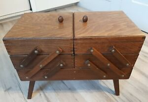Vtg Wooden Accordian Fold Out Sewing Box 3 Tier Craft Organizer On Legs $48.00
