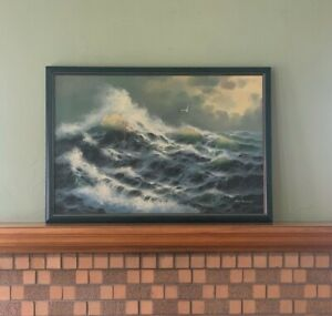 Vintage Seascape oil painting signed by June Nelson framed $500.00