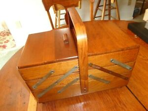 Antique Sewing Box Accordion Crafts Standing Wood Dove Tail Ball Feet $129.00