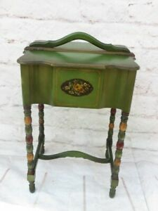 Vintage Wooden Sewing Box Cabinet Stand Green w Tole Design Turned Legs amp; Handle $189.95