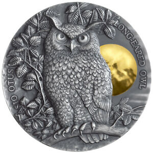 Long Eared Owl Wildlife in the Moonlight 2 oz Antique finish Silver Coin 5$ Niue $279.00