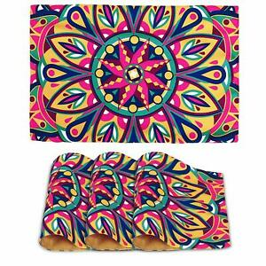 Multicolor Canvas Digital Printed 12x17Heat Resistant 4Pc Dining TablePlacemats