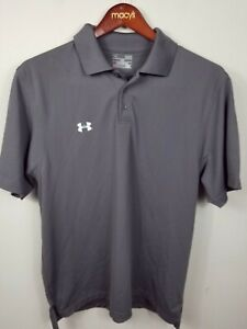 Under Armour Golf Polo Shirt Gray Heatgear Loose Fit Size Large $13.50