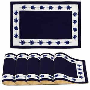 Blue Leaves 12x17 Heat Resistant Poly Canvas 6 Pcs Placemats For Dining Table