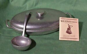 Wilton Armetale Pewter 11 Oval Serving Dish with lid and Ladle $20.00