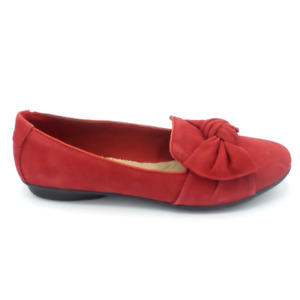 Clarks Collection Bow Detailed Flats Gracelin Jonas Red Suede $27.99