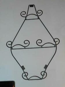 """30""""x 17 ½"""" Black Wrought Iron Plate Rack Holds 4 Plates"""