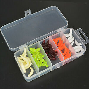 50x Fishing Lures Set with Tackle Box Saltwater Freshwater Lures Soft Silicone