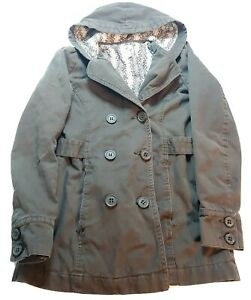 ROXY Brown Lined Trench Coat Womans Size M Medium Button up hooded $36.99