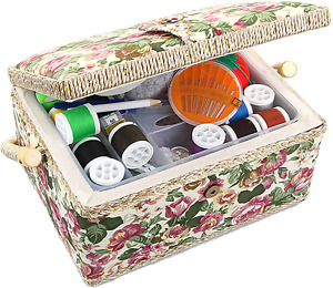 Medium Sewing Basket Sewing Storage And Organizer With Complete Sewing Kit Acces $40.99