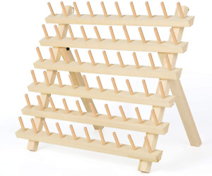Haitral 60 Spool Thread Rack Wooden Thread Holder Sewing Organizer For Sewing $23.99