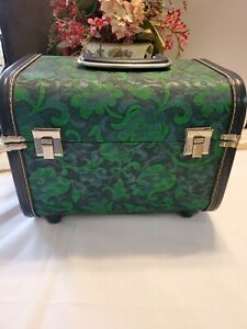 Vtg Fabric Covered Sewing Storage Box Basket Train Case w Vtg sewing notions. GC $35.37