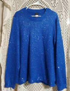 Salon Studio Womens Large Long Sleeve Royal Blue Sequined Knit Sweater Size L # $12.59