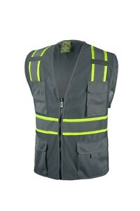 Grey Two Tones Safety Vest With Multi Pocket Tool $11.99
