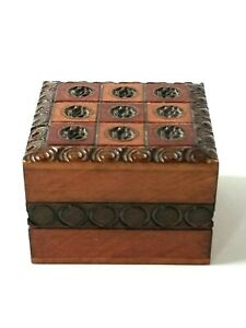 Small Curved Wood Square Hinged Lid Wooden Trinket Box Approx. 2quot; x 2quot; x 1.25quot; $15.60